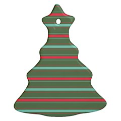 Horizontal Line Red Green Christmas Tree Ornament (two Sides)