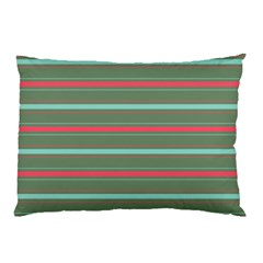 Horizontal Line Red Green Pillow Case (two Sides)