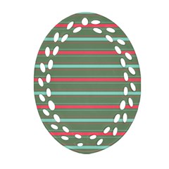 Horizontal Line Red Green Oval Filigree Ornament (two Sides)