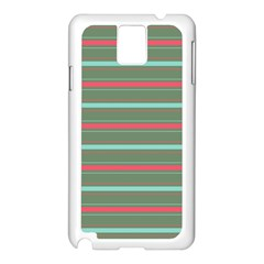 Horizontal Line Red Green Samsung Galaxy Note 3 N9005 Case (white)