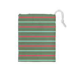 Horizontal Line Red Green Drawstring Pouches (medium)