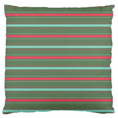 Horizontal Line Red Green Large Flano Cushion Case (one Side)