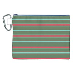 Horizontal Line Red Green Canvas Cosmetic Bag (xxl)