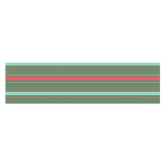 Horizontal Line Red Green Satin Scarf (oblong)