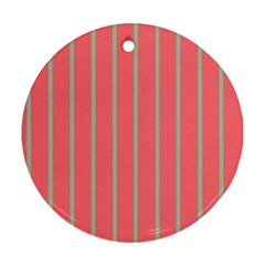 Line Red Grey Vertical Ornament (round)