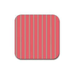 Line Red Grey Vertical Rubber Square Coaster (4 Pack)