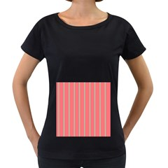 Line Red Grey Vertical Women s Loose Fit T Shirt (black)