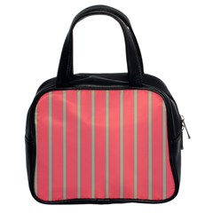 Line Red Grey Vertical Classic Handbags (2 Sides)