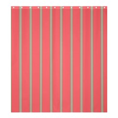 Line Red Grey Vertical Shower Curtain 66  X 72  (large)