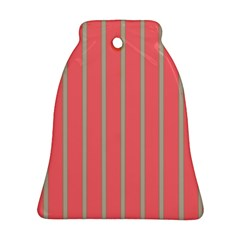 Line Red Grey Vertical Bell Ornament (two Sides)