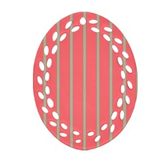 Line Red Grey Vertical Oval Filigree Ornament (two Sides)