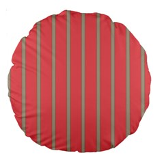 Line Red Grey Vertical Large 18  Premium Round Cushions