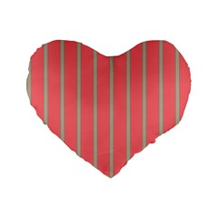 Line Red Grey Vertical Standard 16  Premium Heart Shape Cushions