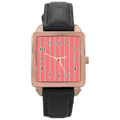 Line Red Grey Vertical Rose Gold Leather Watch