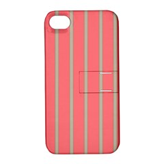 Line Red Grey Vertical Apple Iphone 4/4s Hardshell Case With Stand