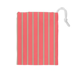 Line Red Grey Vertical Drawstring Pouches (large)