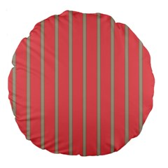 Line Red Grey Vertical Large 18  Premium Flano Round Cushions