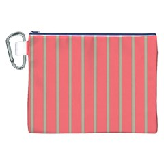 Line Red Grey Vertical Canvas Cosmetic Bag (xxl)