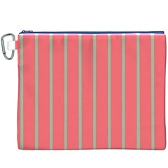 Line Red Grey Vertical Canvas Cosmetic Bag (xxxl)