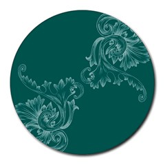 Leaf Green Blue Sexy Round Mousepads
