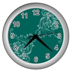 Leaf Green Blue Sexy Wall Clocks (silver)