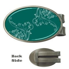 Leaf Green Blue Sexy Money Clips (oval)
