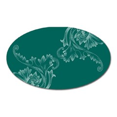 Leaf Green Blue Sexy Oval Magnet