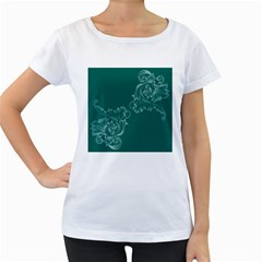 Leaf Green Blue Sexy Women s Loose Fit T Shirt (white)