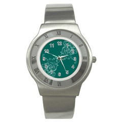 Leaf Green Blue Sexy Stainless Steel Watch