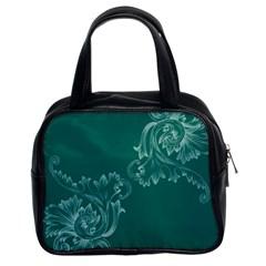 Leaf Green Blue Sexy Classic Handbags (2 Sides)