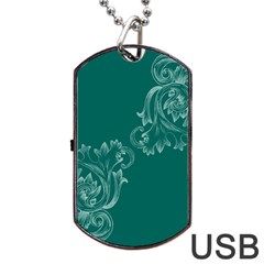 Leaf Green Blue Sexy Dog Tag Usb Flash (two Sides)