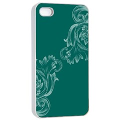 Leaf Green Blue Sexy Apple Iphone 4/4s Seamless Case (white)