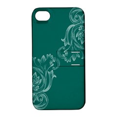 Leaf Green Blue Sexy Apple Iphone 4/4s Hardshell Case With Stand
