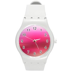Line Pink Space Sexy Rainbow Round Plastic Sport Watch (m)