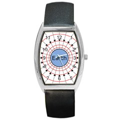 Magnetik Earth s Gravitational Line Triangle Barrel Style Metal Watch
