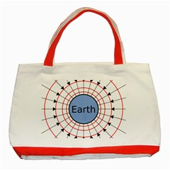 Magnetik Earth s Gravitational Line Triangle Classic Tote Bag (red)
