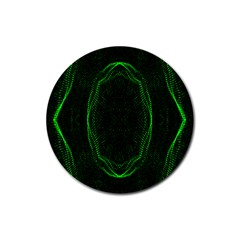 Green Foam Waves Polygon Animation Kaleida Motion Rubber Round Coaster (4 Pack)