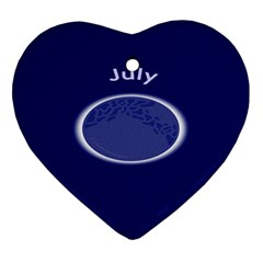 Moon July Blue Space Heart Ornament (two Sides)