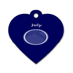 Moon July Blue Space Dog Tag Heart (two Sides)
