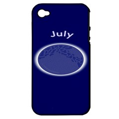 Moon July Blue Space Apple Iphone 4/4s Hardshell Case (pc+silicone)