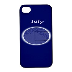 Moon July Blue Space Apple Iphone 4/4s Hardshell Case With Stand