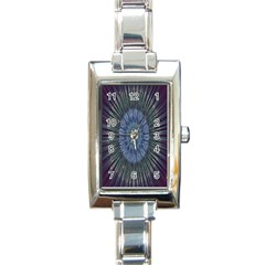 Peaceful Flower Formation Sparkling Space Rectangle Italian Charm Watch