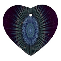 Peaceful Flower Formation Sparkling Space Ornament (heart)