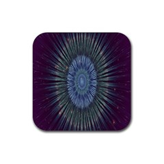 Peaceful Flower Formation Sparkling Space Rubber Square Coaster (4 Pack)