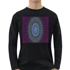 Peaceful Flower Formation Sparkling Space Long Sleeve Dark T Shirts