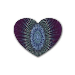 Peaceful Flower Formation Sparkling Space Heart Coaster (4 Pack)