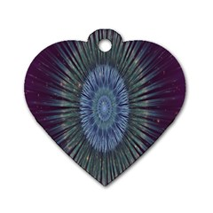 Peaceful Flower Formation Sparkling Space Dog Tag Heart (two Sides)