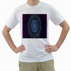 Peaceful Flower Formation Sparkling Space Men s T Shirt (white)