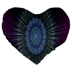 Peaceful Flower Formation Sparkling Space Large 19  Premium Flano Heart Shape Cushions