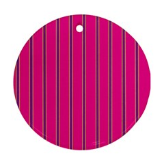 Pink Line Vertical Purple Yellow Fushia Round Ornament (two Sides)
